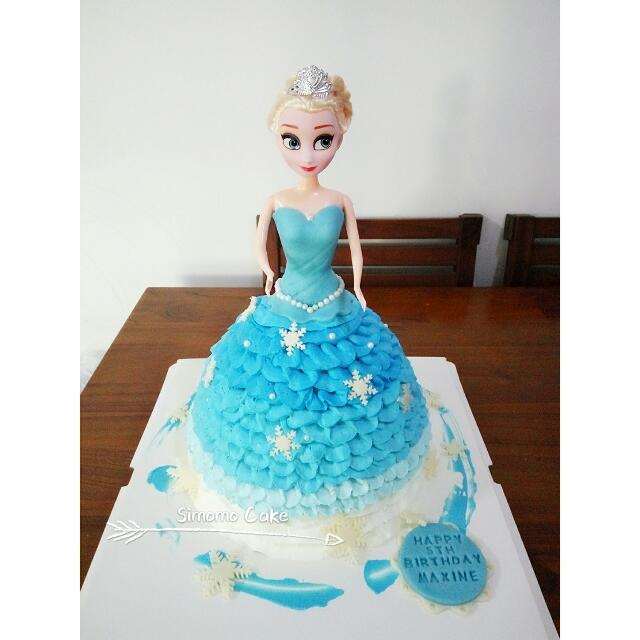 Terrific Frozen Elsa Doll Birthday Cake Customized Free Delivery Food Funny Birthday Cards Online Unhofree Goldxyz