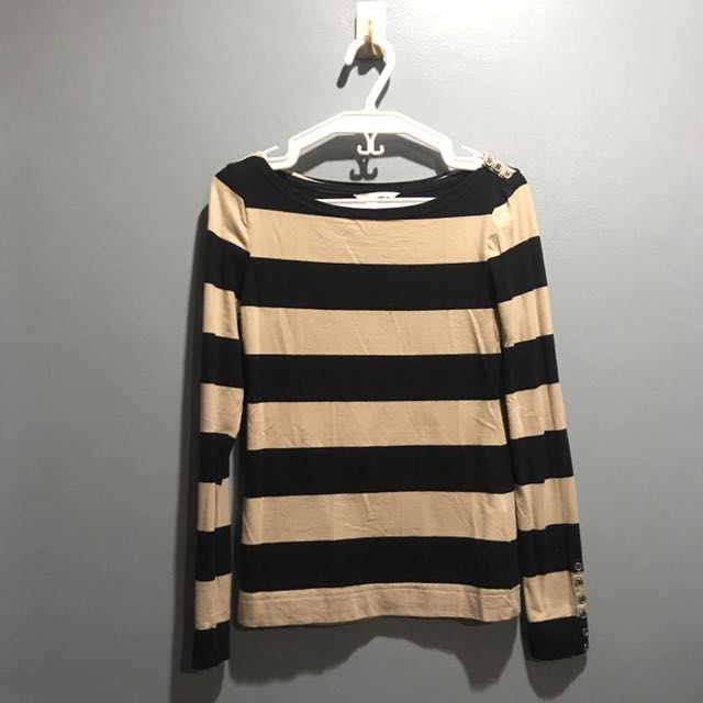 H&M Black And Tan Striped Long Sleeves Shirt