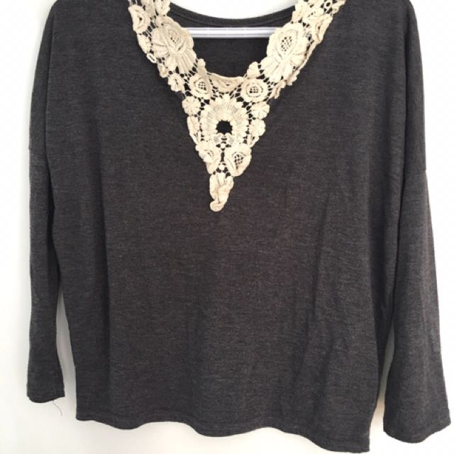 Lace Back Heather Grey Shirt