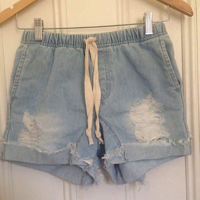 Light blue denim high-waisted shorts BNWOT