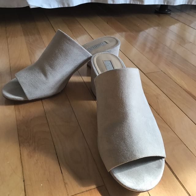 Light Grey Faux Suede Mules