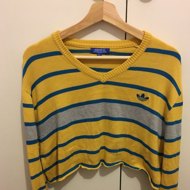 Long Sleeve Cut Adidas Sweater Yellow And Blue And Grayy