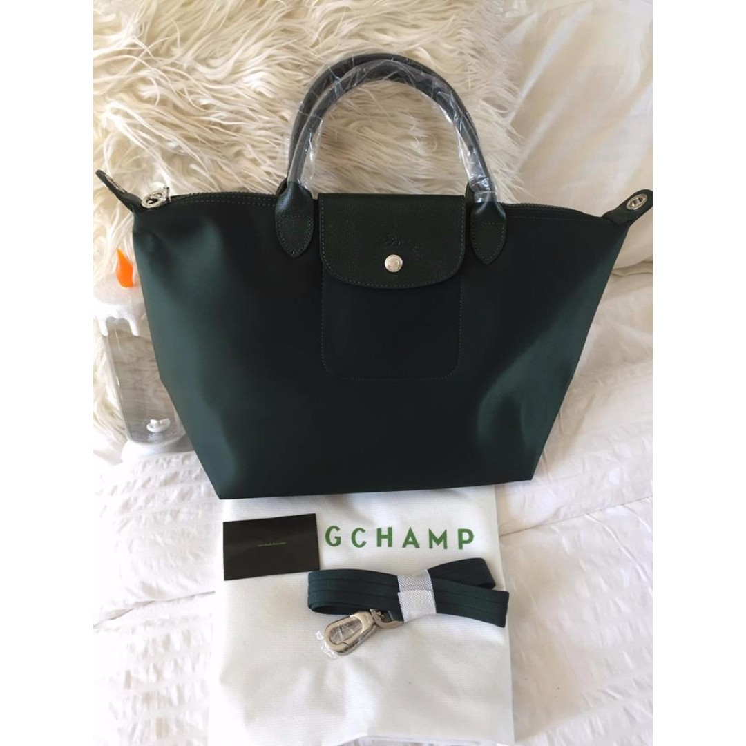 Longchamp Neo Small Moss Green Bag (New, Genuine and On Hand for Shipping)