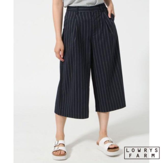 Lowrysfarm 黑色直條紋寬褲