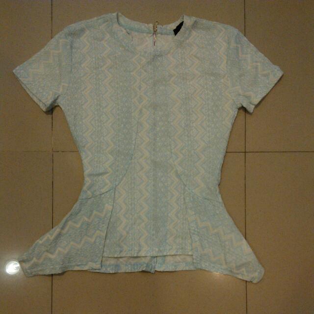Mds Blue Lace Top Sz Xs