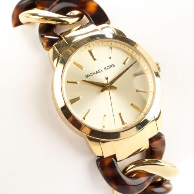 MICHAEL KORS MK 4279 Gold Tone Tortoise Chain Link Strap Quartz Wrist Watch