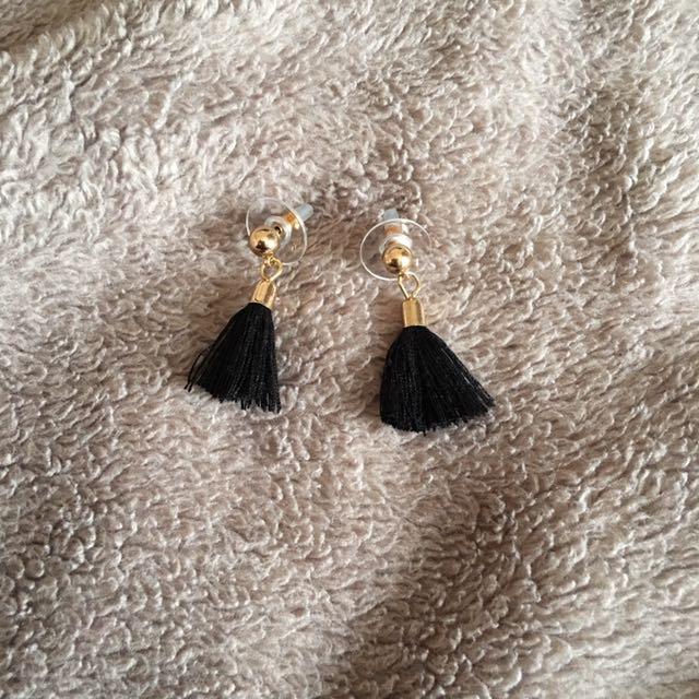 Miniature Black Tassel Earrings