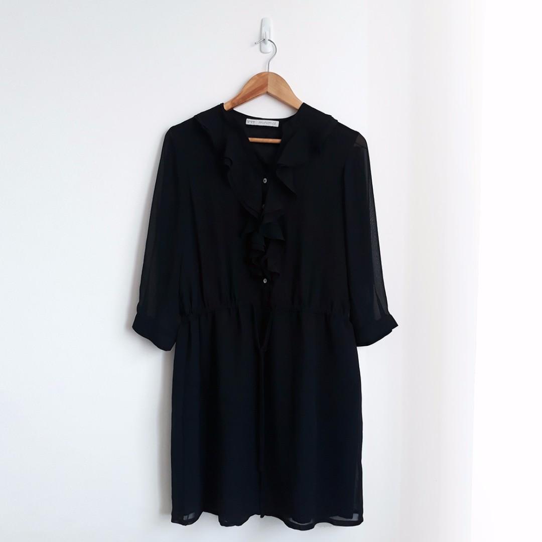 MINIMAL Ruffle Layered Black Dress