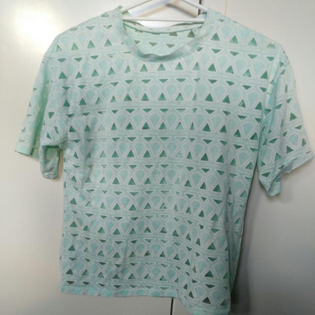 Mint Green Geometric Top Size 8