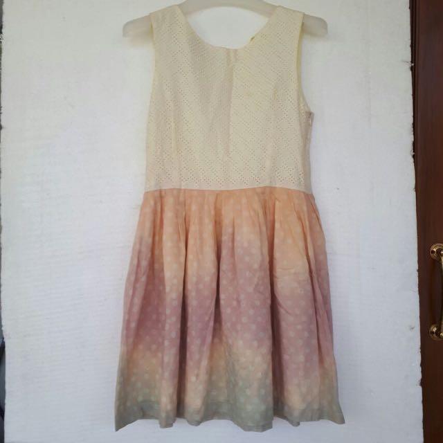 Modern Batik Dress With Eyelet Cotton Size M