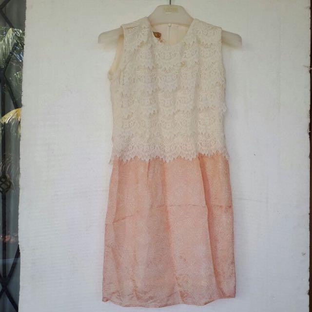 Modern Batik Dress With Lace Size S