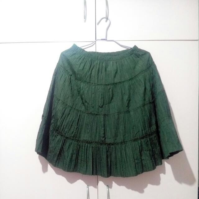 Moss Green Boho Skirt