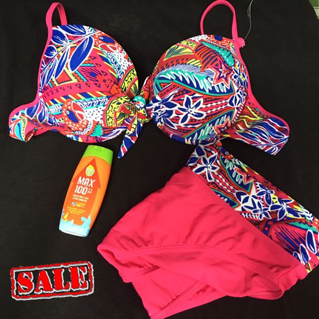 Neon Floral Two-piece Swimsuit