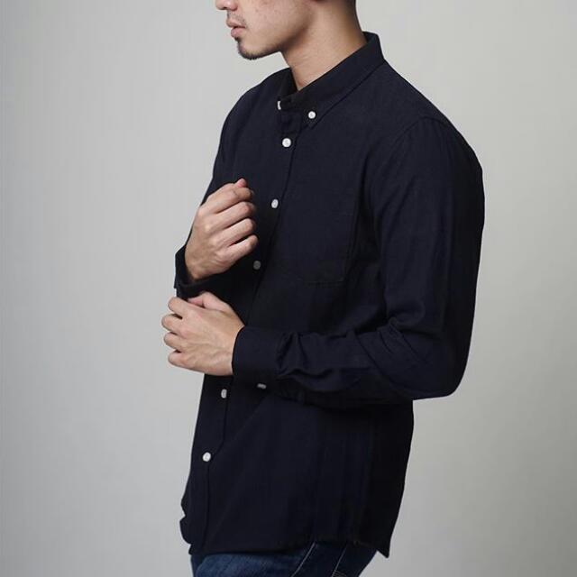 ️NEW JUAL RUGI - Plain Flanel Shirt (Navy) Size M (talent wearing size M)