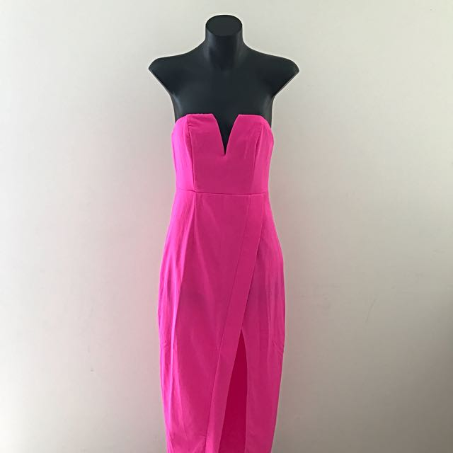 No Brand Dress - Neon Pink With Thigh-High Slit