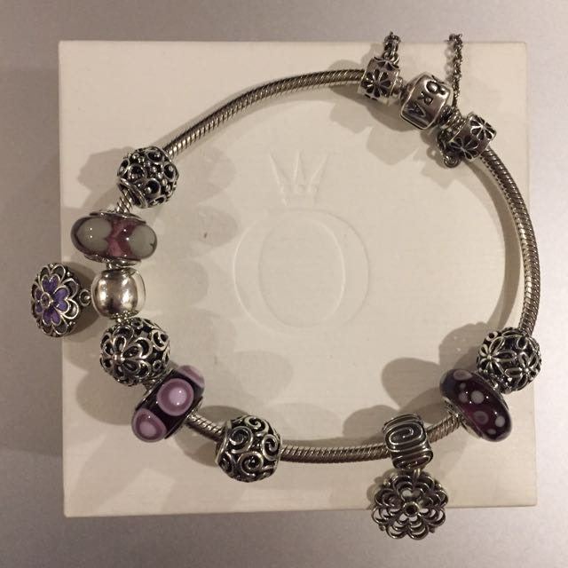 Pandora Bracelet with 9 Charms and Safety Chain