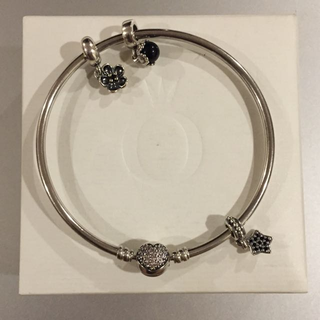 Pandora Silver Bangle with 3 Charms