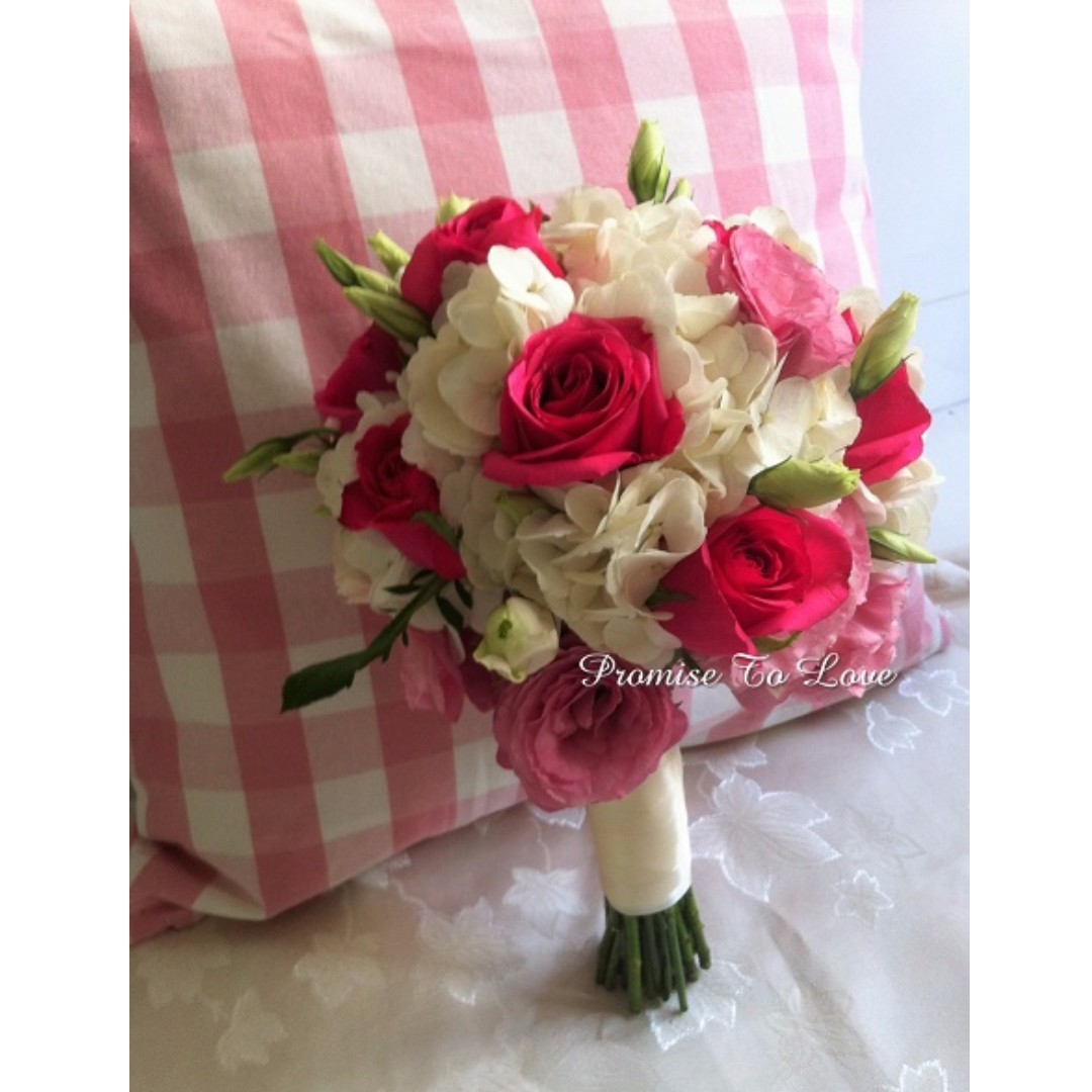 Rustic Pink White Fresh Flowers Bridal Bouquet Wedding Rom