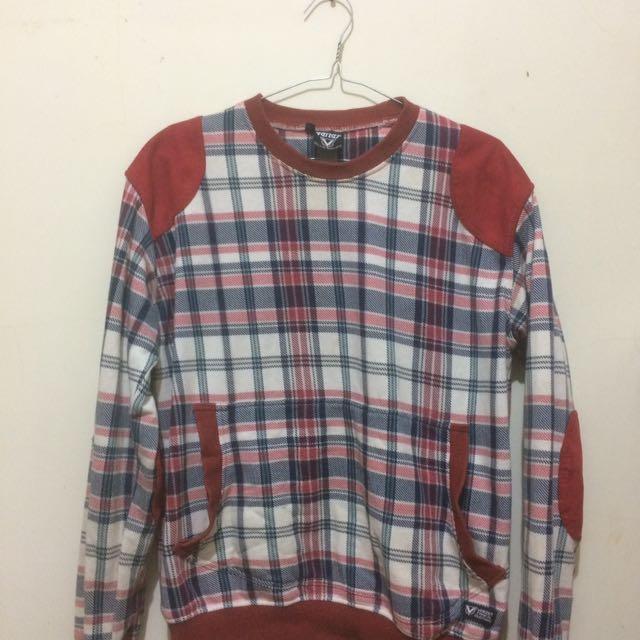 Sweater Merah Semi Leather