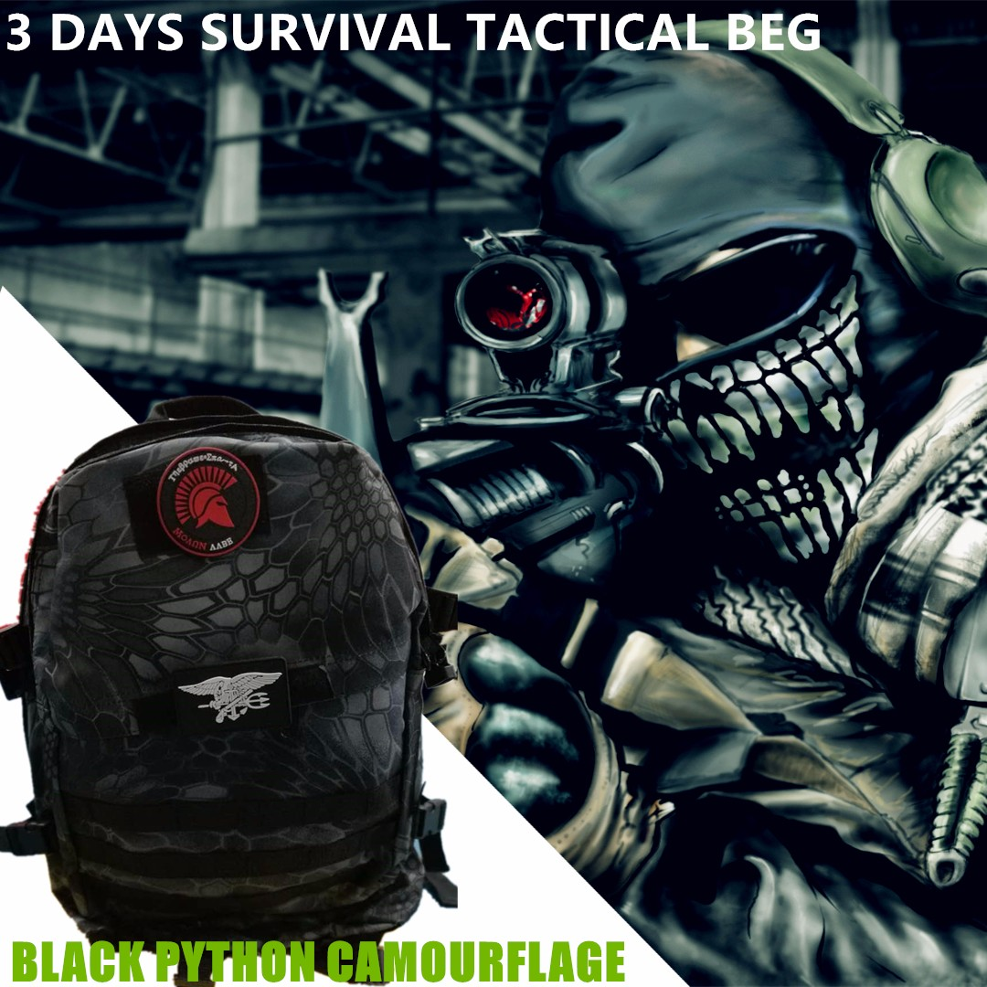 5ad2623af2851 Tactical Performance™ 3-Day 42L Military Backpack Black Python ...