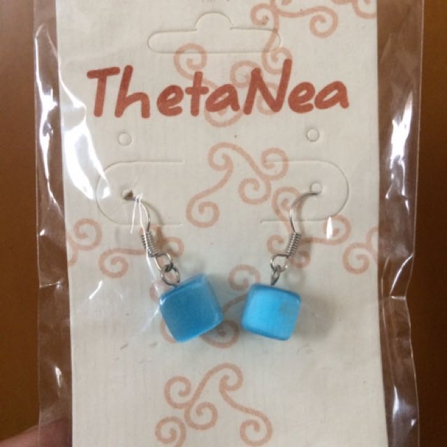 THETANEA BLUE SQUARE EARINGS