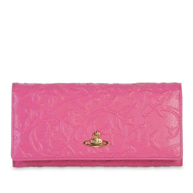 Vivianne Westwood HANOVER Embossed Flap Purse in Pink