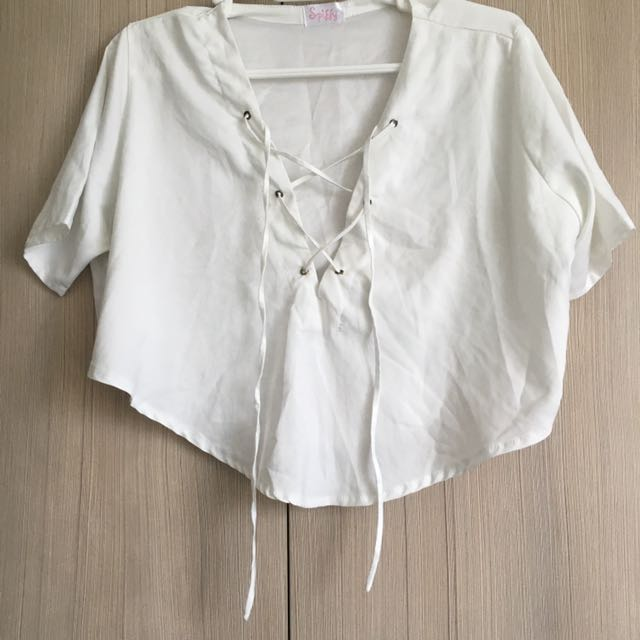 White Lace Up Blouse / Small
