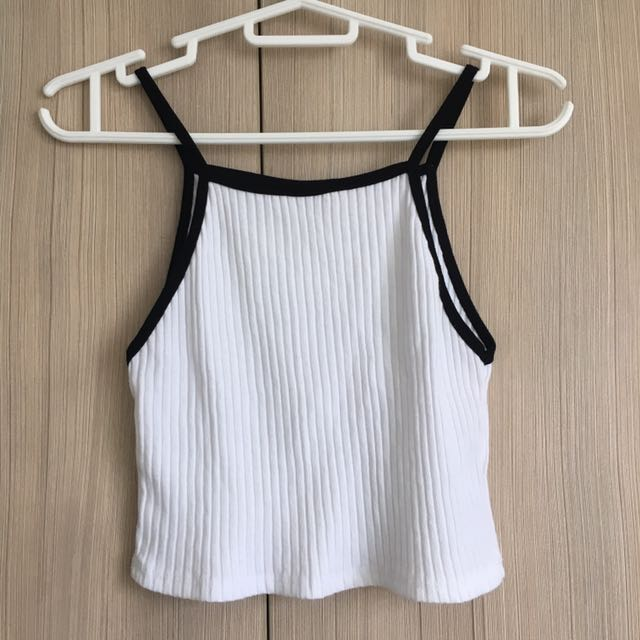 White Ribbed Tank Top / Small