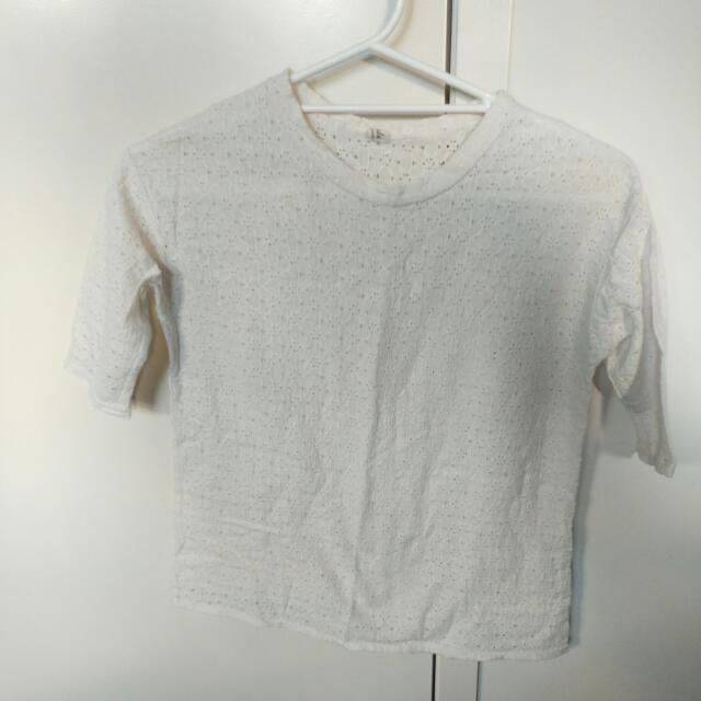 White Size 8 Lace Top