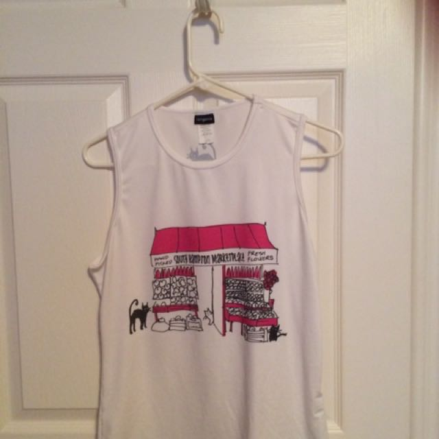 White Tank Top With Pattern Of Marketplace On Front Size Extra Extra Large