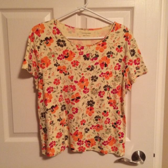 Yellow Print Pima Cotton Size Large T-Shirt