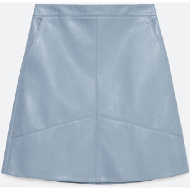 d00b307d4f Zara A-Line Faux Leather Skirt - Blue, Women's Fashion, Clothes, Dresses &  Skirts on Carousell