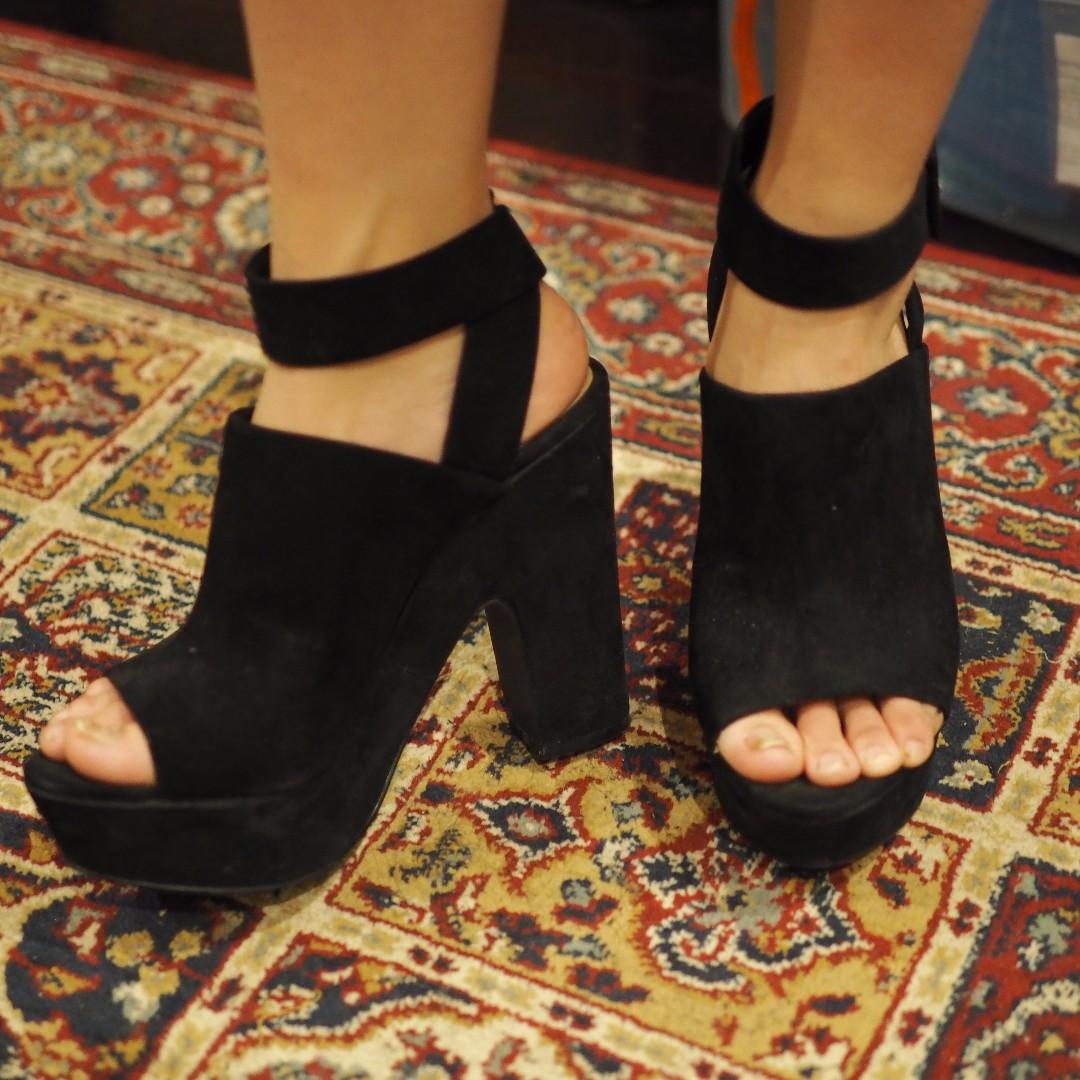 ZARA platform black heels/sandals