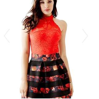 Guess Red Lace Bodysuit