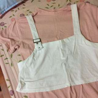 粉色長版衣夾可拆背心