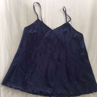 Navy Silk Cami / Slip Top