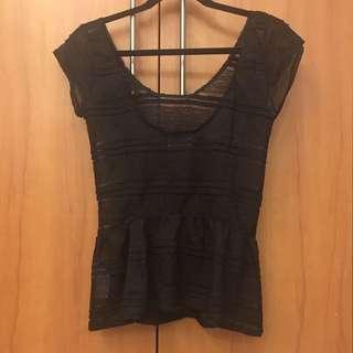 Black Zara C-thru Top