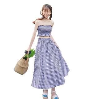 🚚 2件式藍格子洋裝