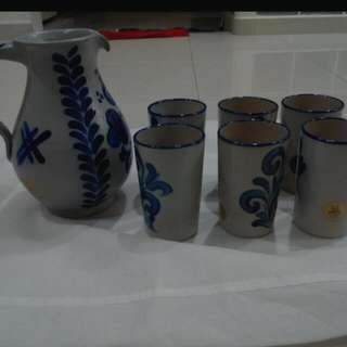 Pitcher And 6 Mugs From Germany.