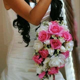 Silk Flower Wedding Tear Drop Bouquet