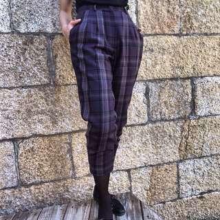🌴90s紫色格紋復古高腰格子七分褲 女款Vintage 日本帶回古著