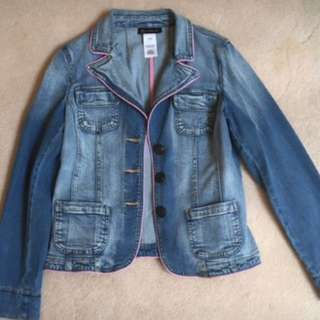 INC Jean Jacket with Pink Detailing (Size M)