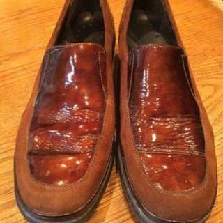 Mephisto - Brown Patent Leather & Suede Slip-On Women's Loafers (Size 8.5)