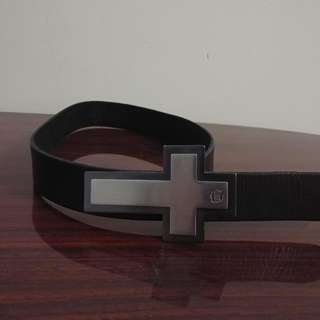 Black GUESS Cross Leather Belt