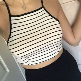 Striped Crop Top Halter Neck