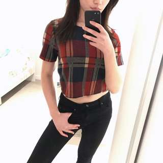 Vintage Inspired Red Plaid Crop Top