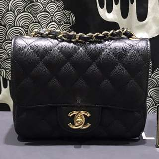 100% Authentic Chanel square mini  Black Caviar with gold  Hardware