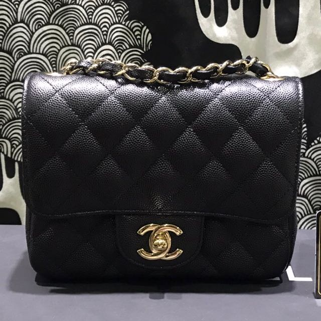 d9768905f26550 100% Authentic Chanel square mini Black Caviar with gold Hardware, Luxury,  Bags & Wallets on Carousell