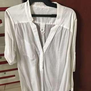 Zara White Long Polo