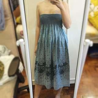 Blue Printed Tubedress/Skirt